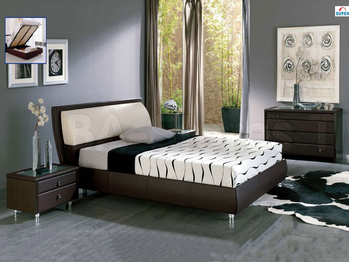 Small Gray Bedroom Design Inspirations With Elegant Brown Bed Frame Furniture That Have Soft