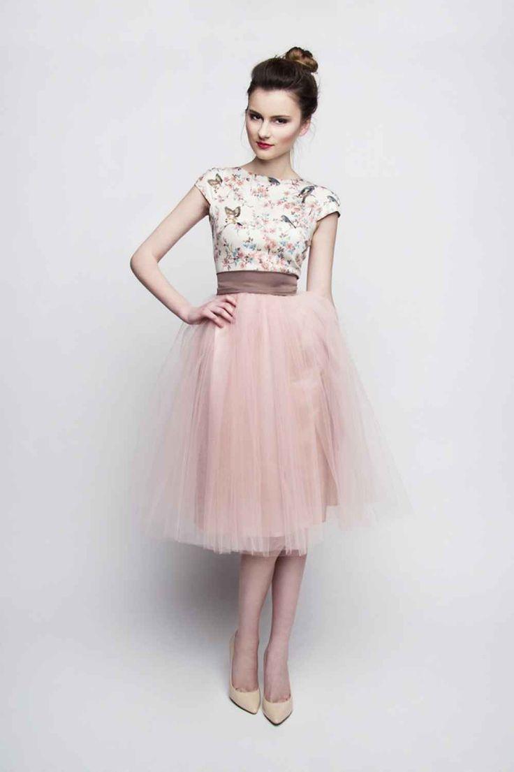 Standesamt Kleid rosa braun kurz mit Tüllrock ...