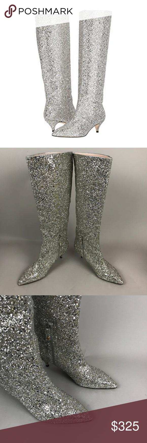 1aa168e4b66a Kate Spade Olina Silver Glitter Boots Kitten Heel Kate Spade Olina Silver  Glitter Boots Kitten Heel