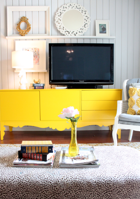 Tv Stand With A Pop Of Color Great Focal Point In A Room Plus