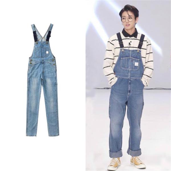 Jungkook Denim Overalls In 2021 Denim Overalls Overalls Kpop Fashion Outfits