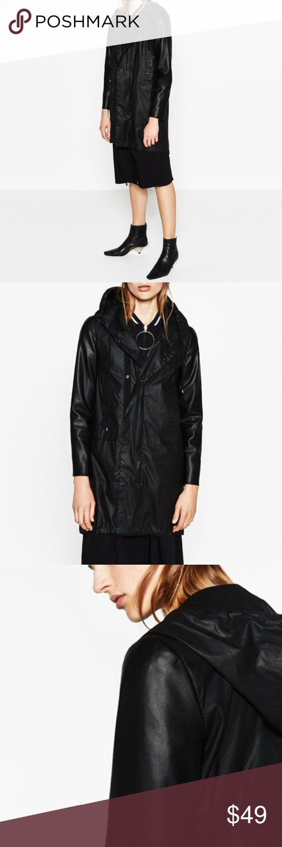 Zara Hooded Rain Jacket with Leather Sleeves XS This