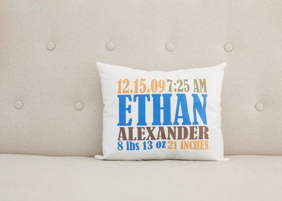 Personalized nursery birth statistics pillow blue orange brown personalized nursery birth statistics pillow blue orange brownee shipping unique baby giftsorange negle Image collections