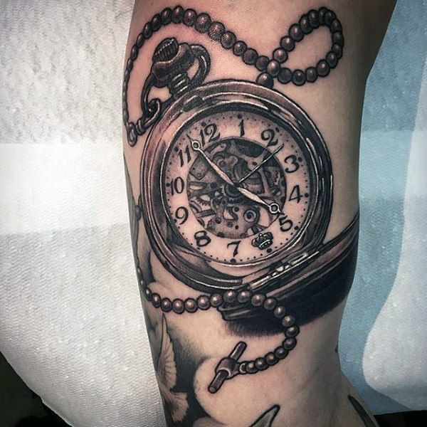 Striking pocket watch tattoo design on forearms for Pocket watches tattoos