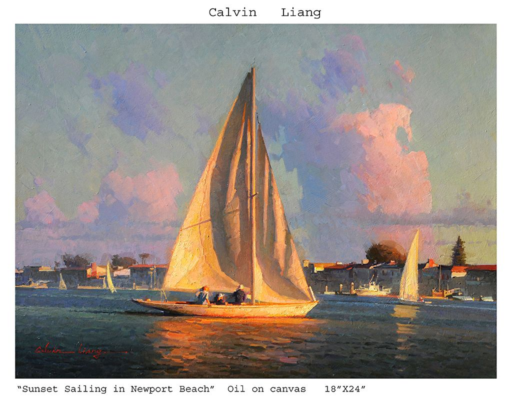 Sunset Sailing in Newport Beach by Calvin Liang Oil ~ 18\