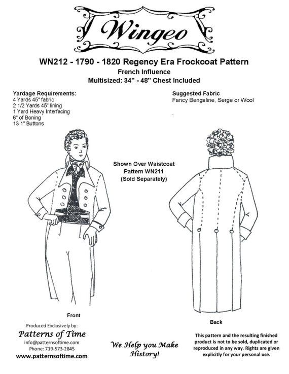 WN212 - 1790 - 1820 Frockcoat Pattern (Tail Coat) Sewing Pattern by ...