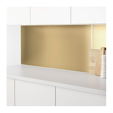 LYSEKIL Wall panel Double sided brass-colour/stainless steel colour ...
