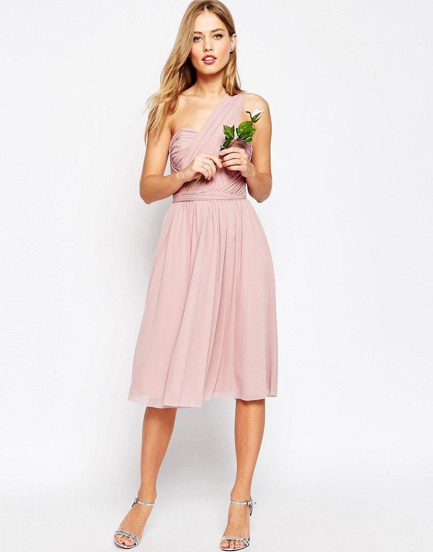 Simple asos wedding multiway mesh midi dress pink heatherpink save ways pink pink wedding dresses wedwebtalks