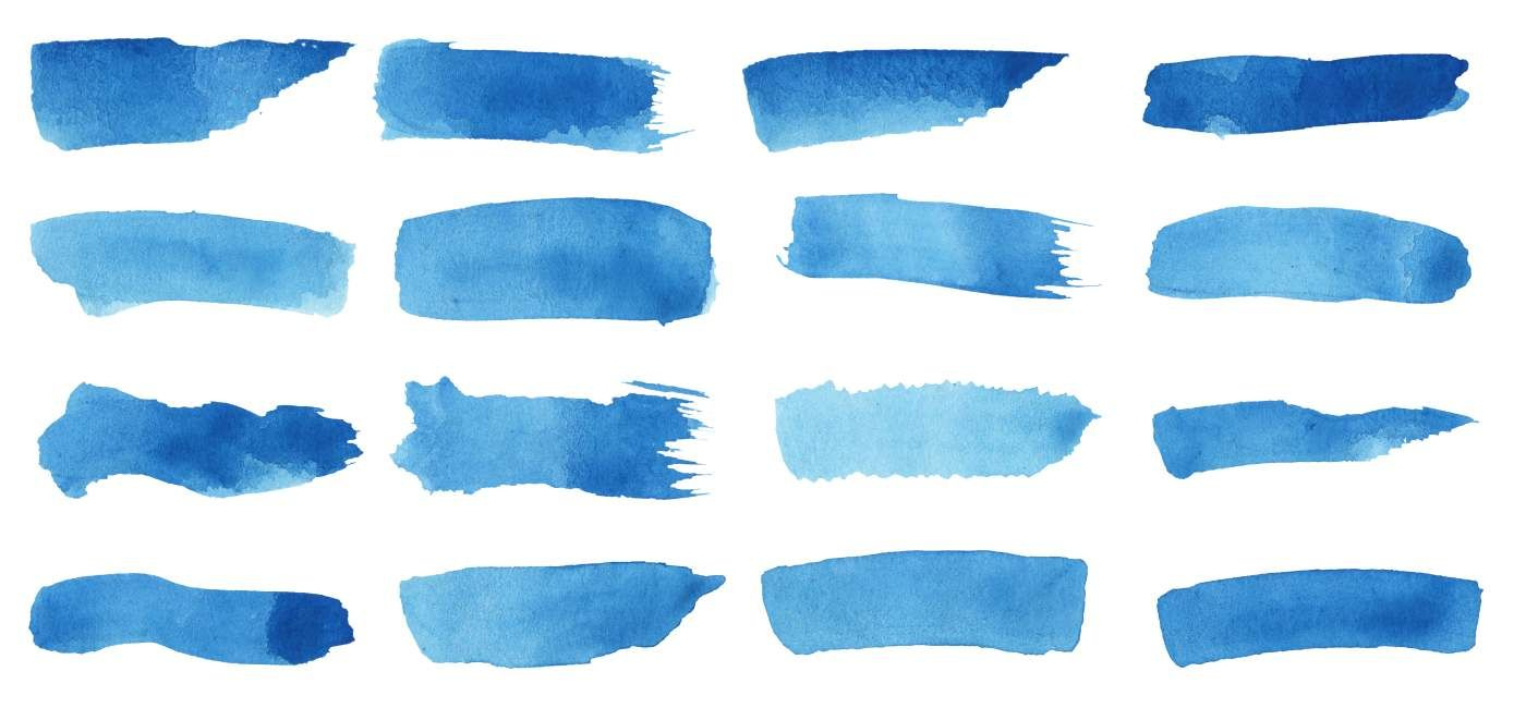 16 Blue Watercolor Brush Stroke Banner Png Transparent Blue