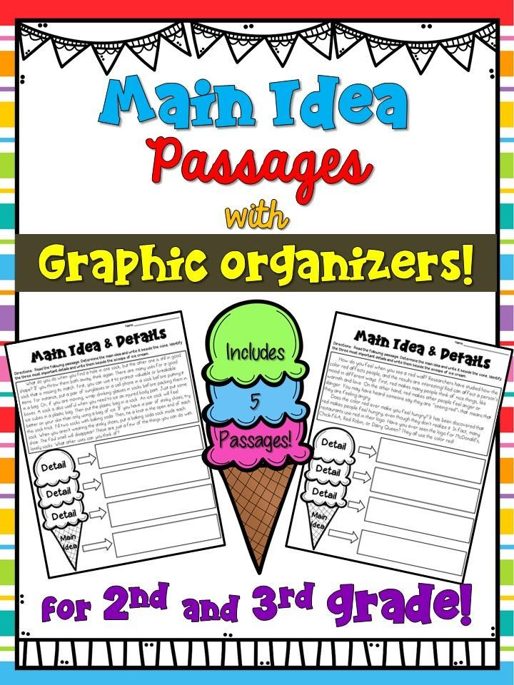 Main Idea Passages With Graphic Organizers The Main Idea Is The Cone And Supporting Details Are The Scoops O Main Idea Worksheet Graphic Organizers Main Idea