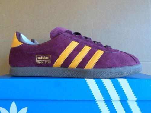 Adidas TRIMM STAR uk8.5,9 BNIB MaroonGold DS