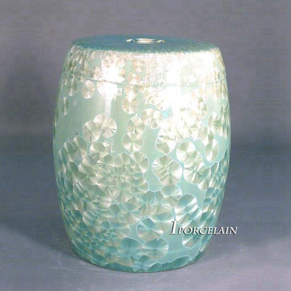 Blue Crystaline Glaze Chinaware Patio Stools