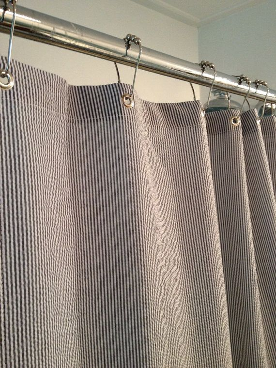 Seersucker Stripe Shower Cutain, Many Sizes Clawfoot Tub Shower Curtain Or  Custom