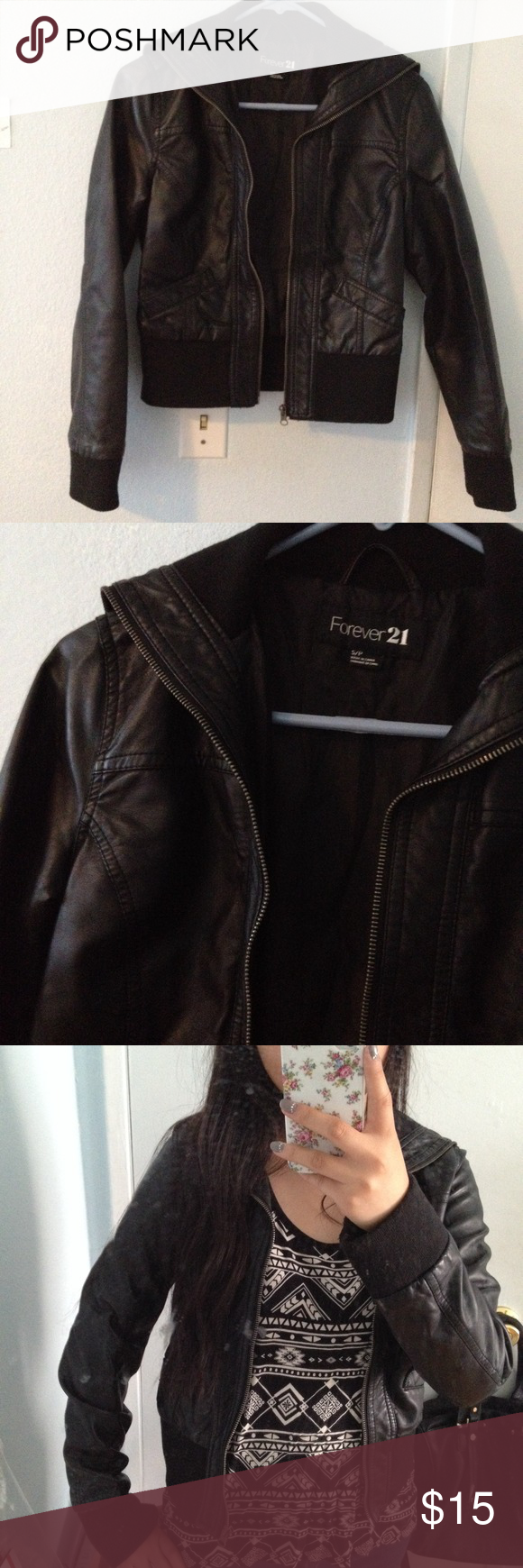 Forever 21 Black Leather Jacket In Excellent Condition No Imperfections Visible Slimming Fit S Black Faux Leather Jacket Leather Jacket Faux Leather Jackets [ 1740 x 580 Pixel ]