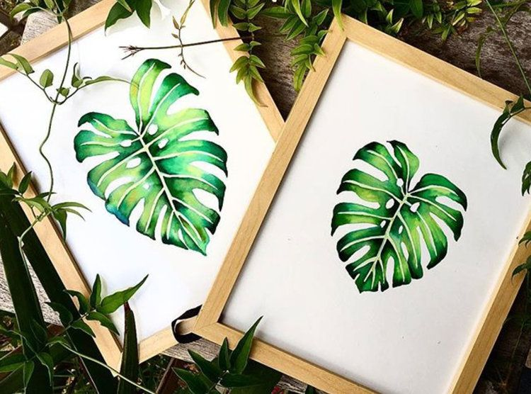 Watercolour Monstera Leaf Tutorial Painted Leaves Plant