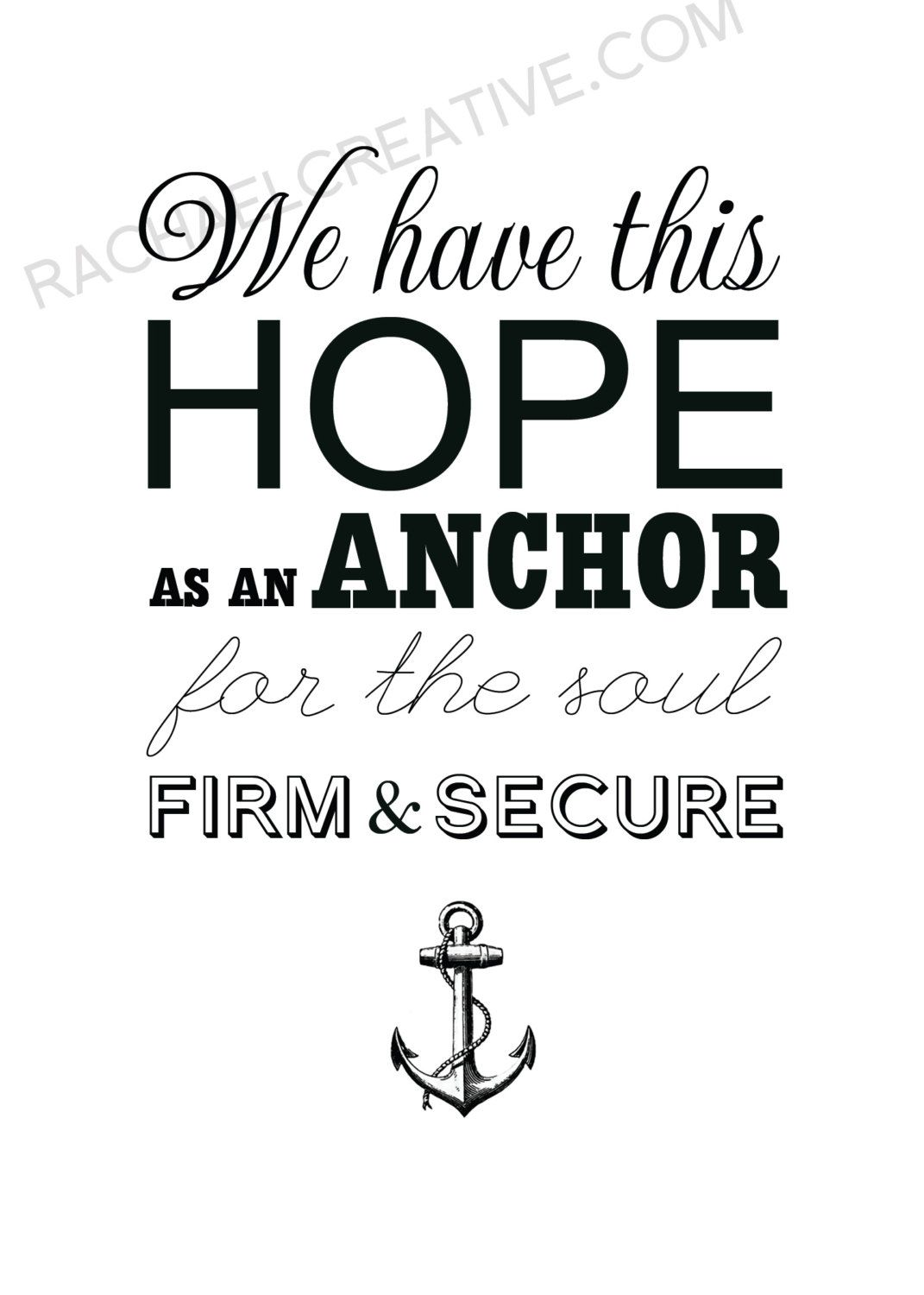 Anchor Quote Print Hope Typography Scripture Art