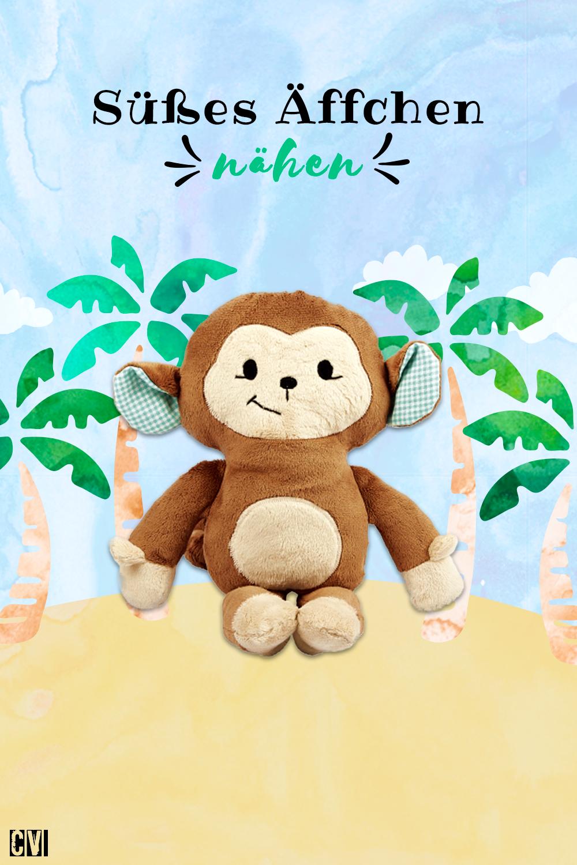 Putzige Äffchen-Spieluhr nähen | Spieluhr, Kuscheln und Affen