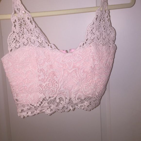 cute pink crop top from amazon i bought this on amazon and it was too small. my bra size is a 32 C and it didnt fit unless i didnt wear a bra. still cute(: never worn, did not have any tags amazon.com Tops Crop Tops