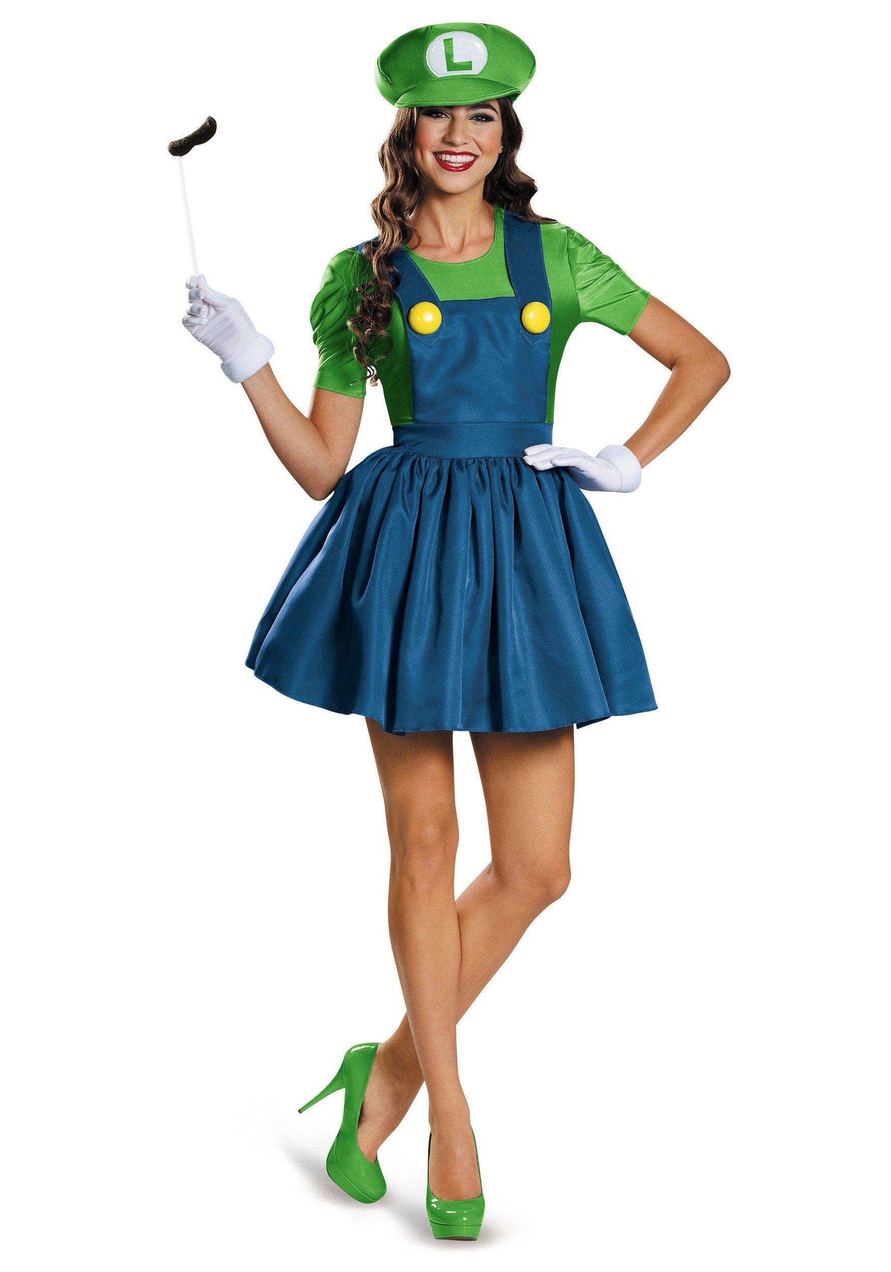 Women\'s Luigi Dress Costume | Costumes, Mario birthday party and ...