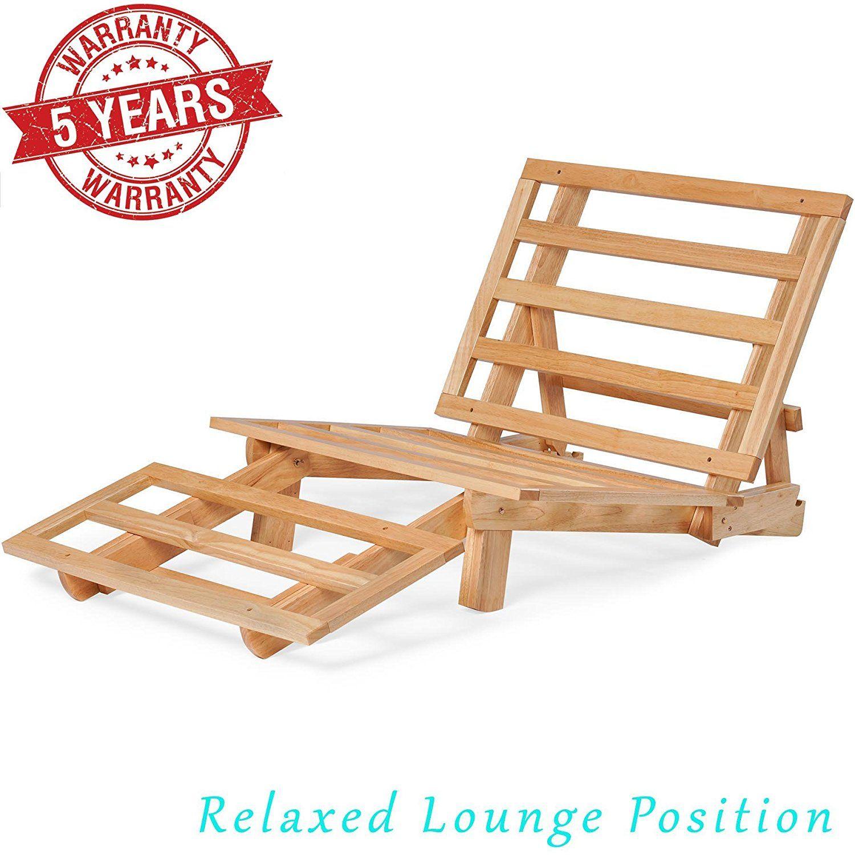 Tri Fold Wood Futon Sofa Bed Lounger