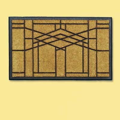 Natural Fiber And Rubber Doormat With A Stark Frank Lloyd Wright Inspired Design Welcome Mat
