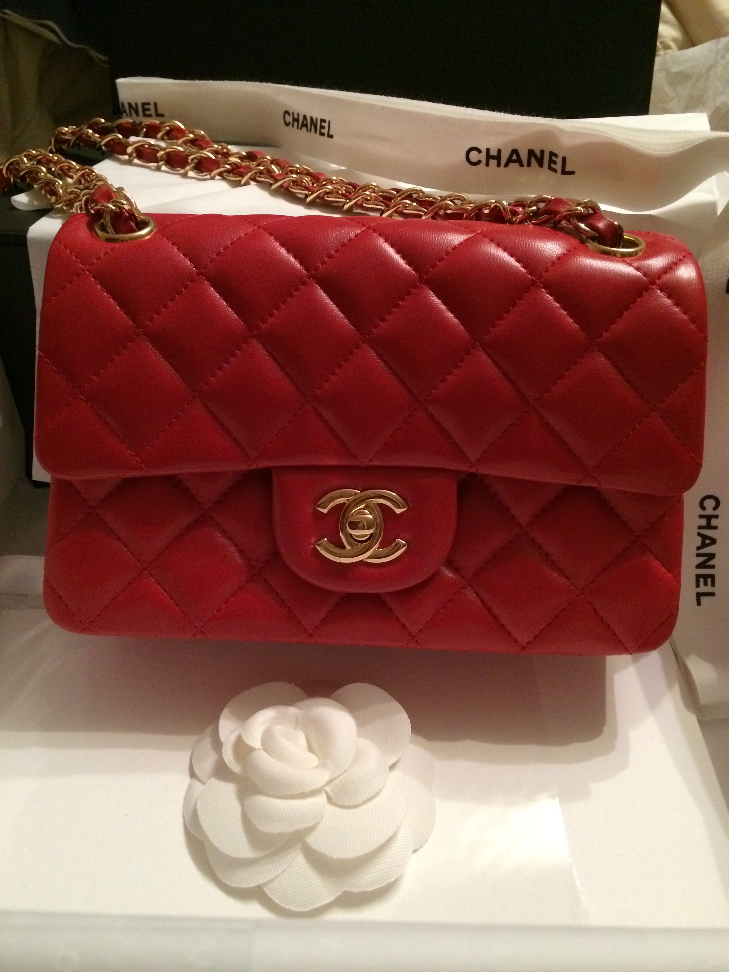 My Small Chanel Classic Flap Bag In Red 3