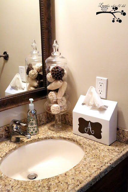 Kleenex Hand Towel Box Monogram Makeover Crafts DIYs - Monogrammed hand towels for small bathroom ideas