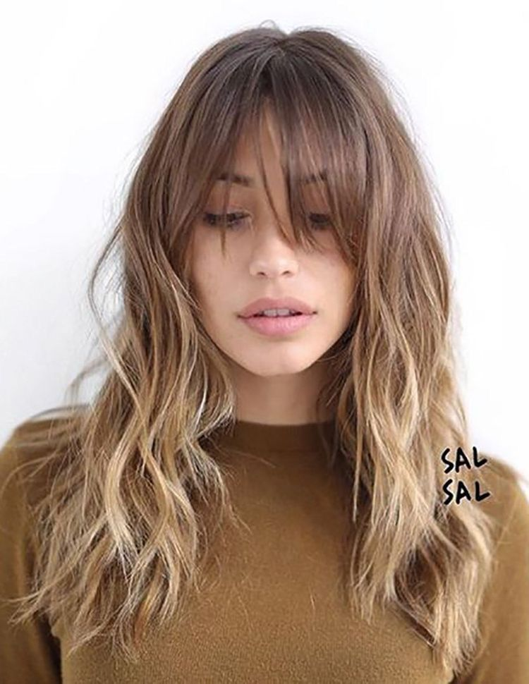 Wavy Balayage Hairstyles With Bangs Blonde Light Brown Hair
