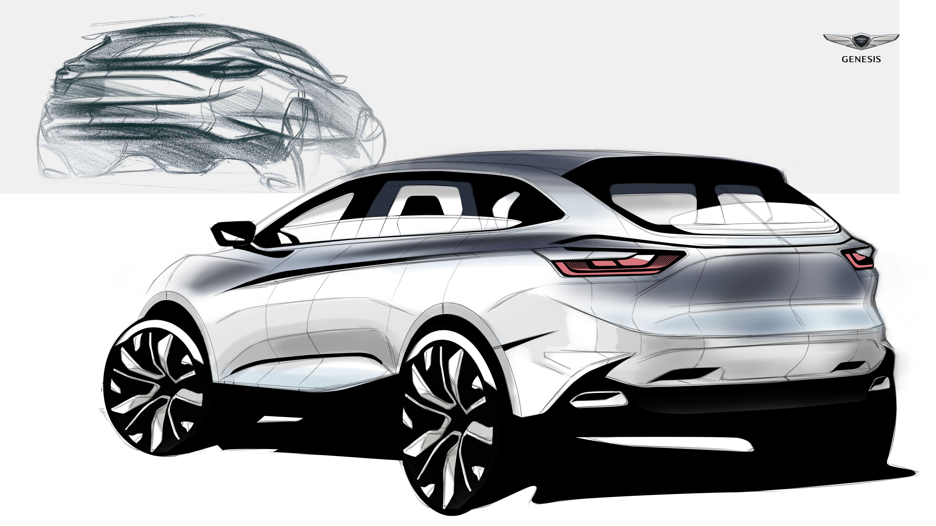 Luxury Suv Of Genesis Sketch On Behance Car Sketch Pinterest