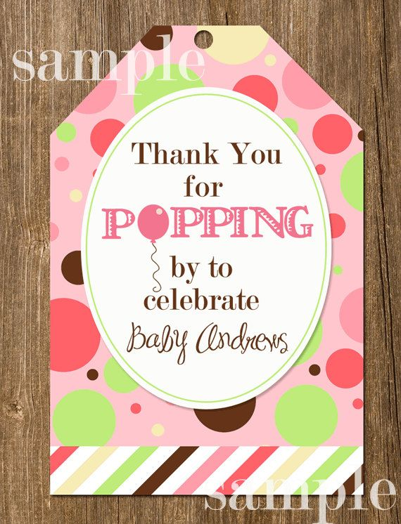 Ready To Pop Polka Dot Balloon Baby Shower Favor Tags  Printable