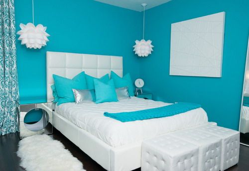 Attirant Modern Blue Wall Paint Colors White Teen Girls Bedroom Furniture Ideas
