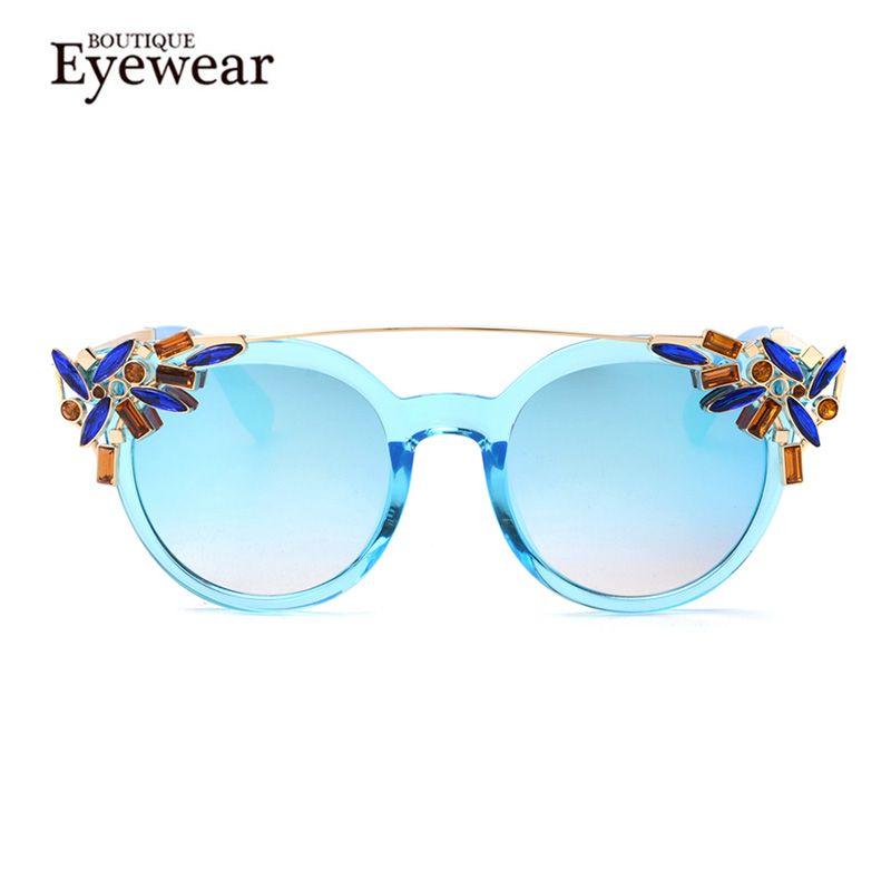 Boutique fashion crystal decoratie vrouwen cat eye zonnebril vrouwen twin beam merk ontwerp vlinder h1604