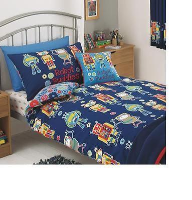 Reversible Boys Robot Buddies Cogs Navy Blue Single Duvet Cover Set Bnip Ebay Duvet Sets Robot Bedroom Bedding Sets