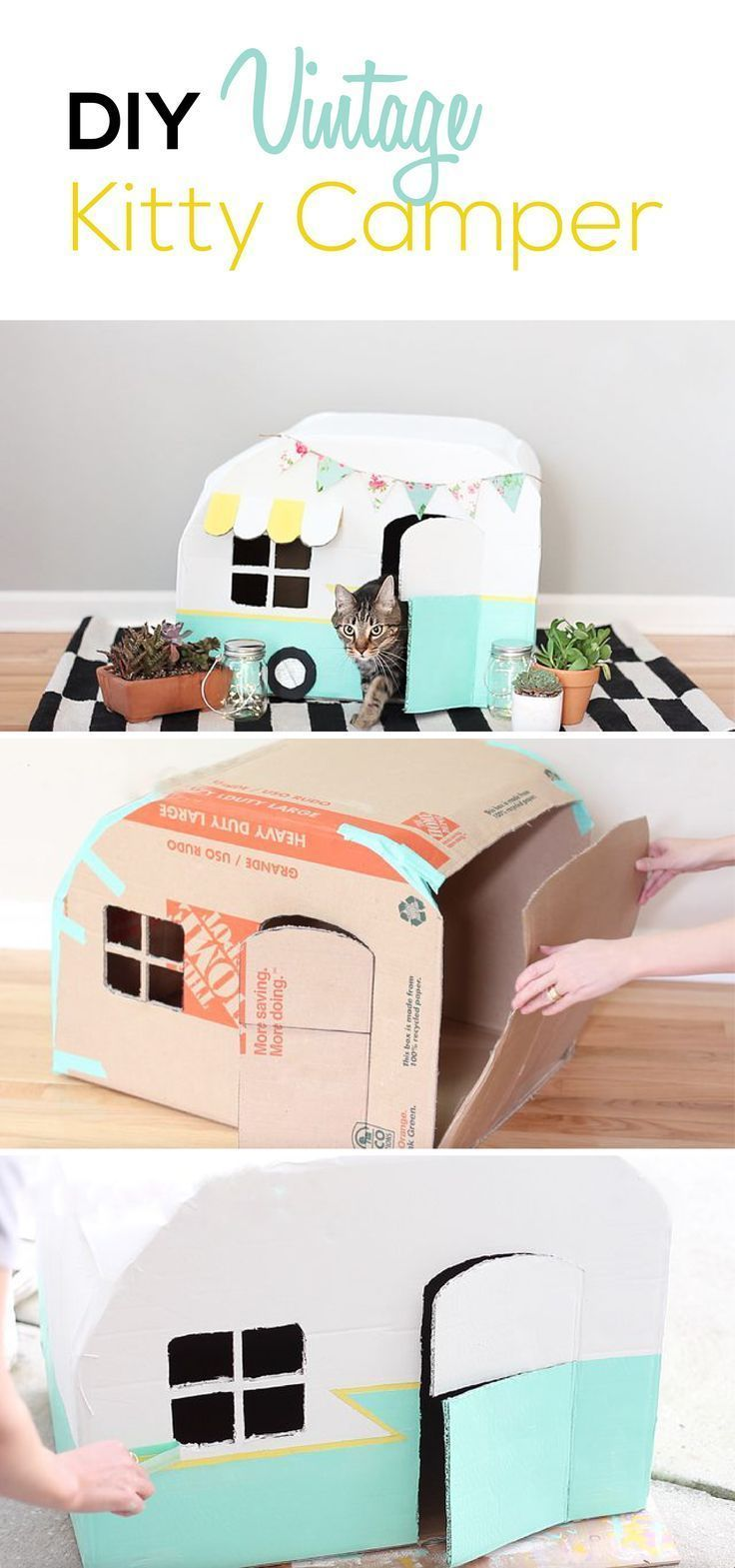 Photo of How To Make A Vintage Kitty Camper From Cardboard Boxes | Cuteness