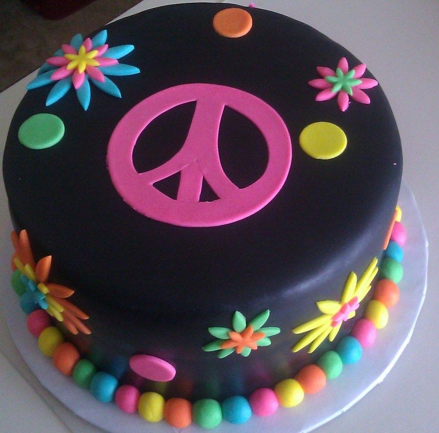 Peachy Flower Power Peace Sign Cake Hippie Cake Childrens Birthday Cakes Personalised Birthday Cards Epsylily Jamesorg