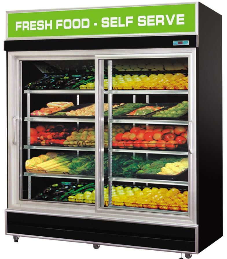 2 Sliding Door Fruit Vegetable Display Fridge 1 2m Black Vegetable Shop Salad Shop Fruit