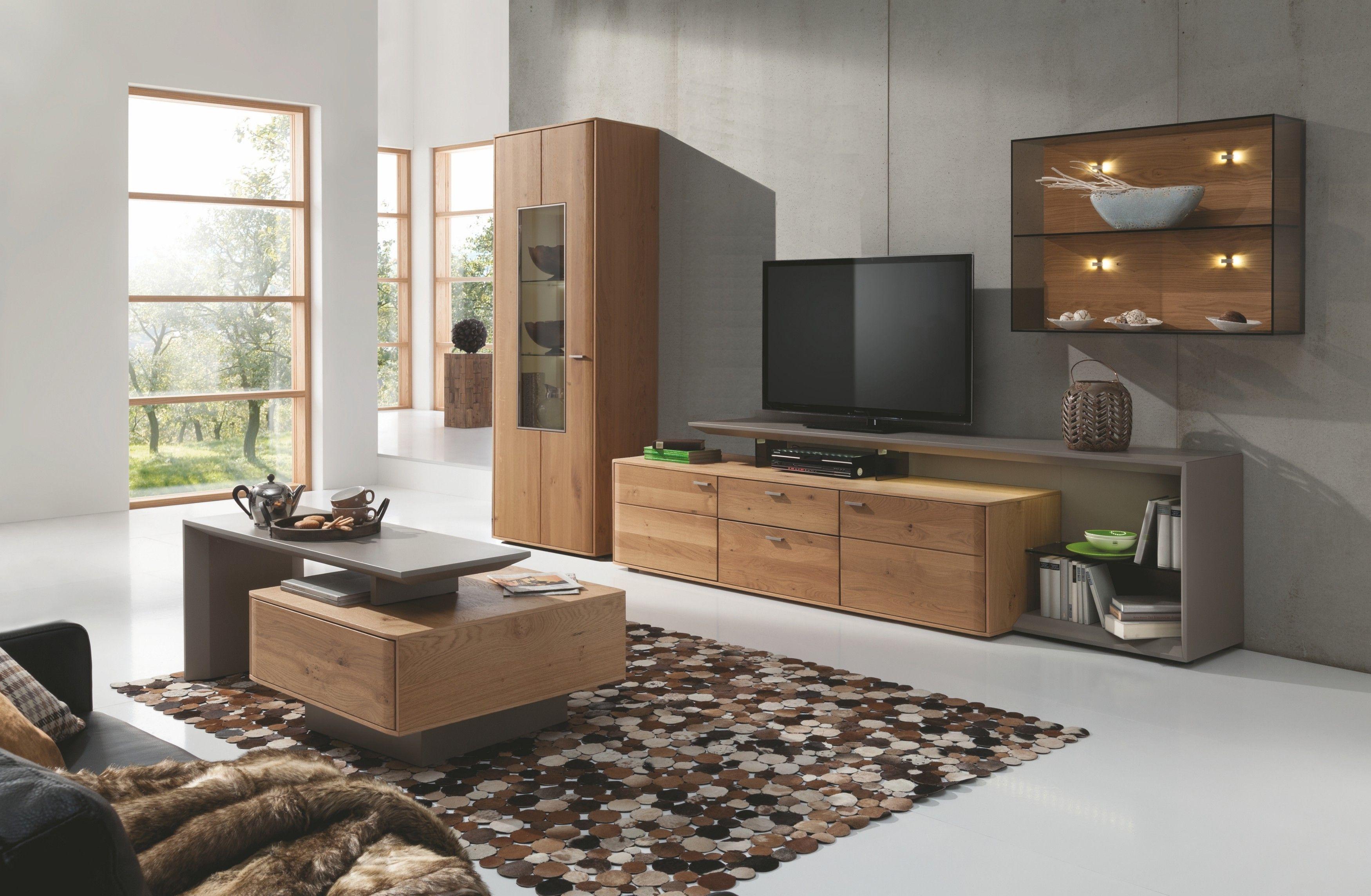 Wohnwand Wildeiche honig massiv/ fango seidenmatt lackiert Woody 165 00003   Online möbel, Woody ...
