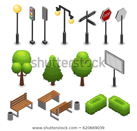 City Street Elements Set With Lamp Lantern Traffic Light Trees Benches Bushes Billboard Trash Road Signs Isolated Vecto City Illustration City Streets Lanterns