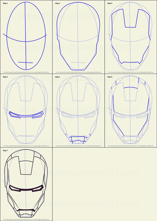 How To Draw Iron Man 10 Step By Step Examples Iron Man Drawing Iron Man Helmet Iron Man Drawing Easy