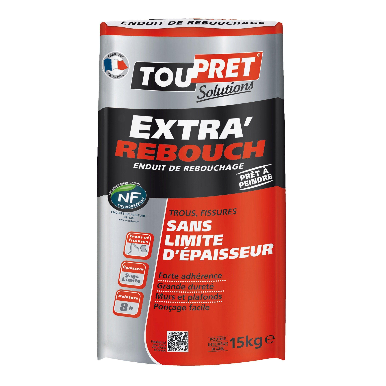Toile À Enduire Plafond enduit de rebouchage toupret extra rebouch 15 kg en poudre