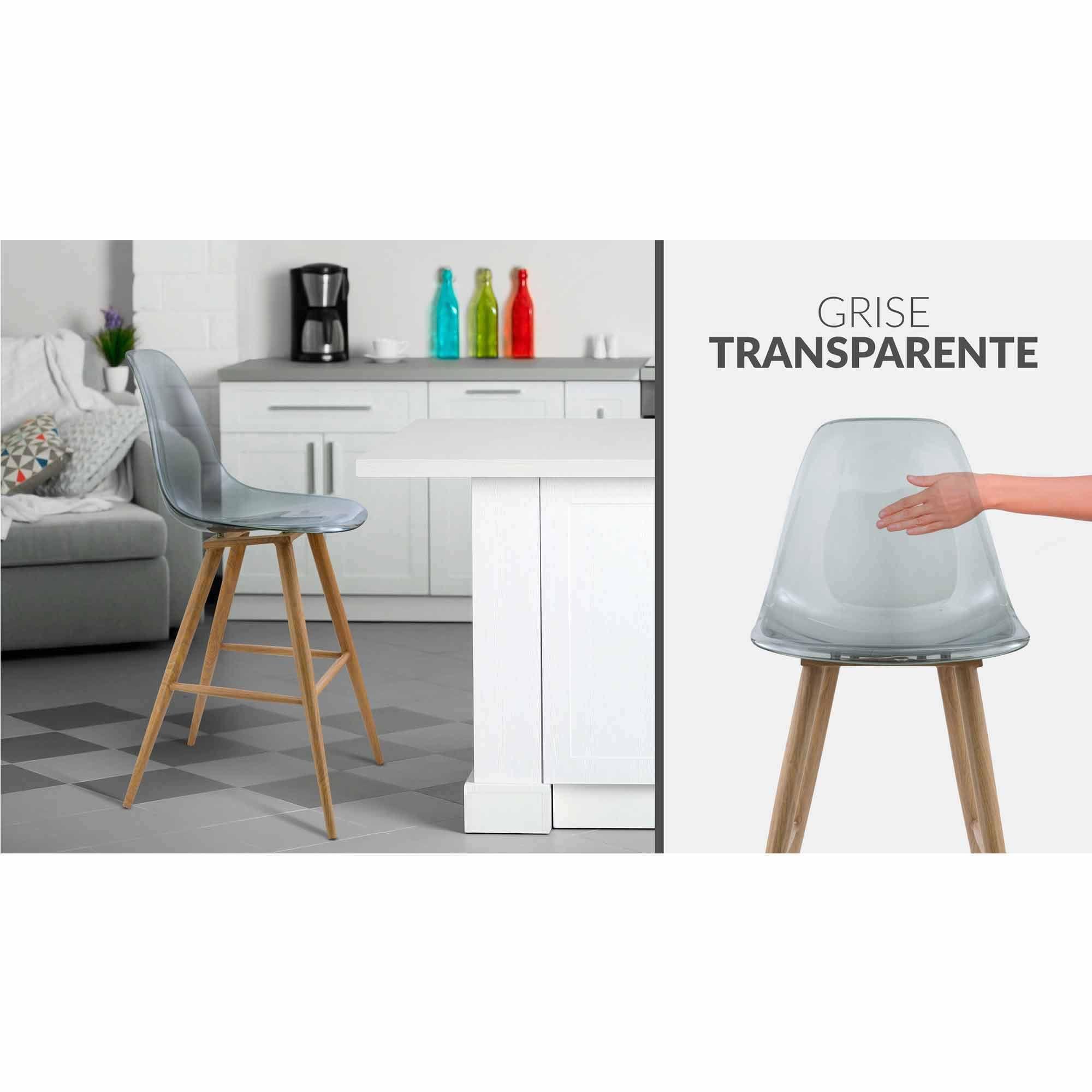 Chaise Haute SCANDI Transparente Gris Mac Andrews