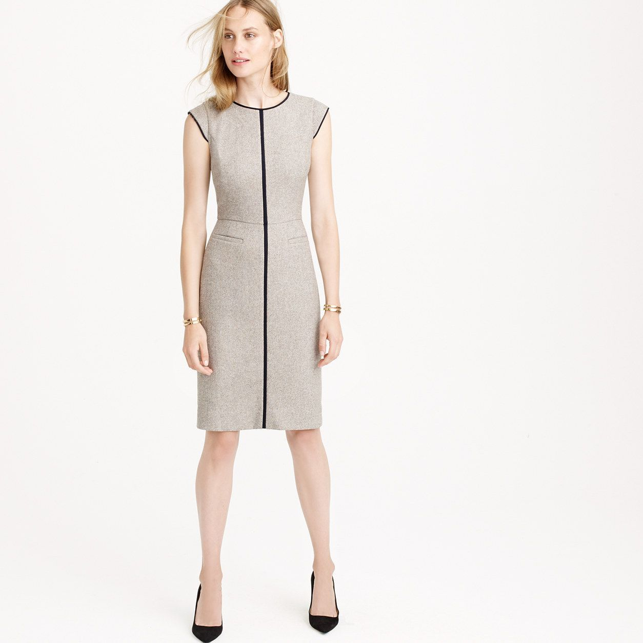 J Crew Womens Tall Cap Sleeve Dress In Piped Donegal Wool Products