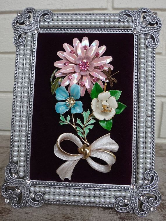 Vintage Shabby Chic Framed Jewelry Art | Pinterest | Cuadro en la ...