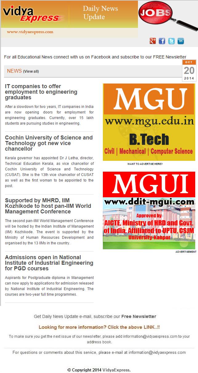 """EducationNews VidyaExpress """"Cochin University of"""
