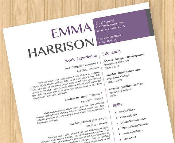 CV Resume Modern Purple Template Instant Word Document Download - resume word document download