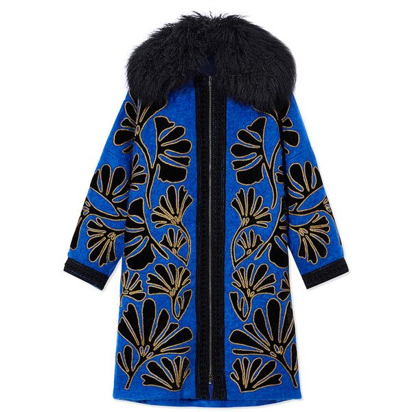 Andrew Gn Oversized Floral Coat (€5.490) ❤ liked on Polyvore featuring outerwear, coats, blue, andrew gn, black coat, oversized coat, blue coat and floral coat