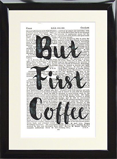 Framed Dictionary Art Print But First Coffee Typography Watercolour ...