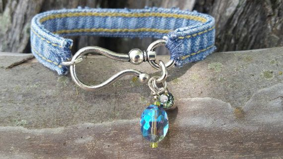 Denim Bracelet with Large Hook Closure and Charms by DenimReDooz