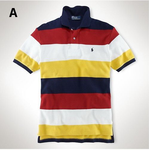 Ralph Lauren Men Multicolor Striped Polo Shirt Navy Red White Yellow