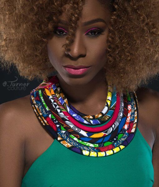 Vibrant Multicolored Bib Necklace – African fabric Print Necklace